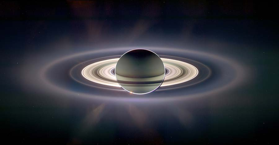 Saturn eclipsing the Sun, with Earth